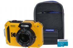 Kodak PIXPRO WPZ2 Waterproof Rugged Camera Kit including 32GB MicroSD Card & Bumper Case - Yellow